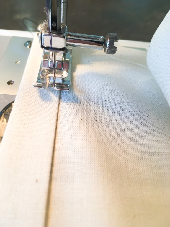 "Sew hem with 1/8"" seam allowance"