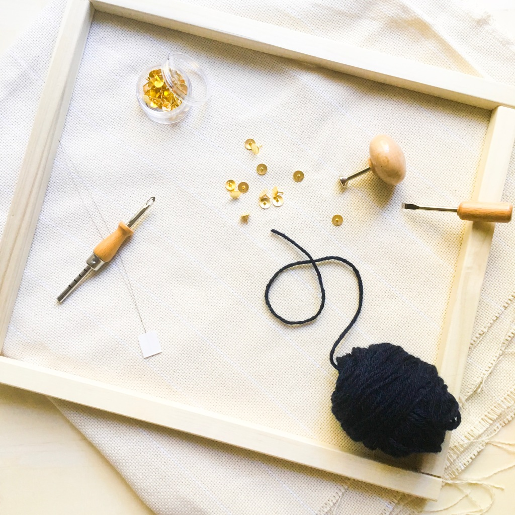 DIY punch needle pillow materials