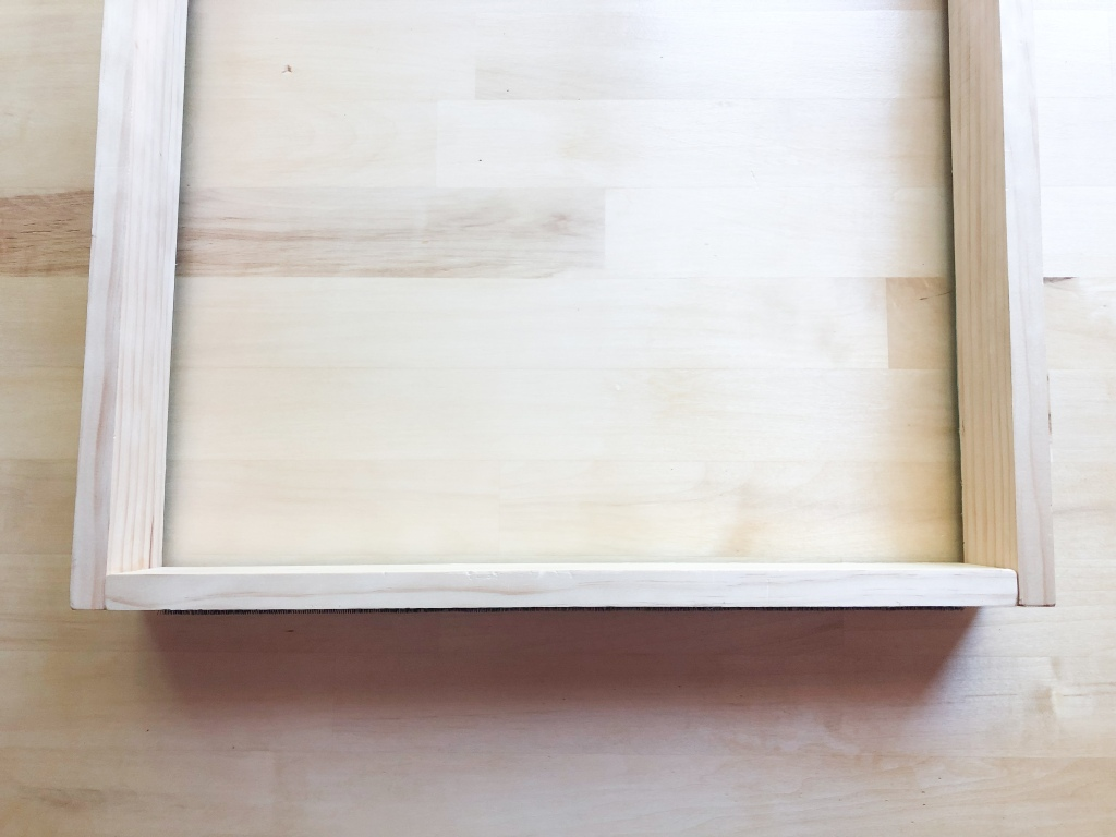Long boards fit on the outside of the short board to make wood frame